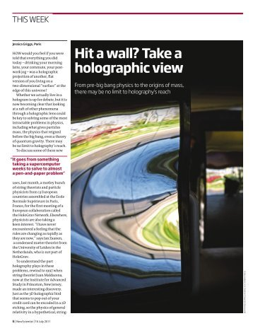 Hit a wall? Take a holographic view - University of Southampton