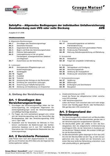 Allgemeine Bedingungen der individuellen ... - Groupe Mutuel