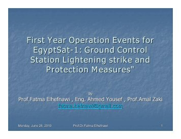 First Year Operation Events for EgyptSat-1: Ground Control Station ...