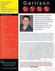 one sheet - Keynote Speaker Garrison Wynn