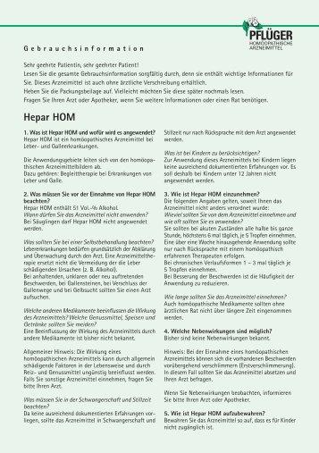 Hepar HOM - Homöopathisches Laboratorium A. Pflüger