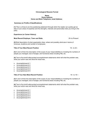 Chronological Resume Format Name Home Address Home And .