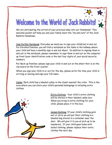 Jack Rabbits Welcome Packet - Bright Horizons