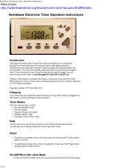 Homebase electronic timer operation instructions - Water Heater ...