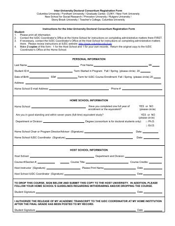 (IUDC) Registration Form - Graduate School of Arts and Sciences ...