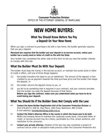 Builder New Home Disclosure Form - Maryland Attorney General