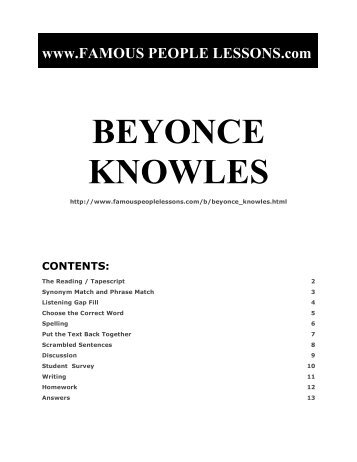 BEYONCE KNOWLES - Famous People Lessons.com