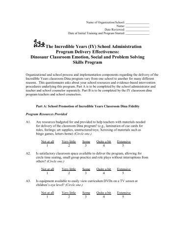 Implementation Effectiveness - Classroom Dina Program