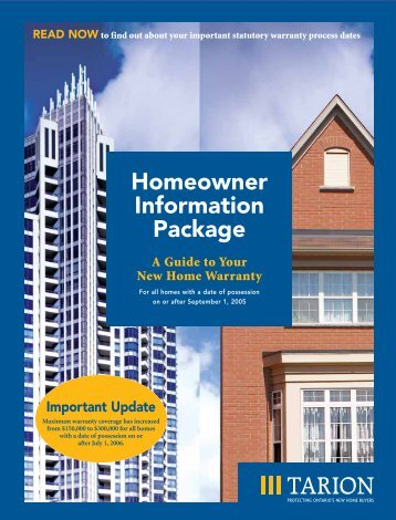 Homeowner Information Package - Tarion