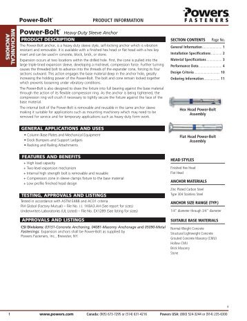 Power-Bolt® - Powers Fasteners