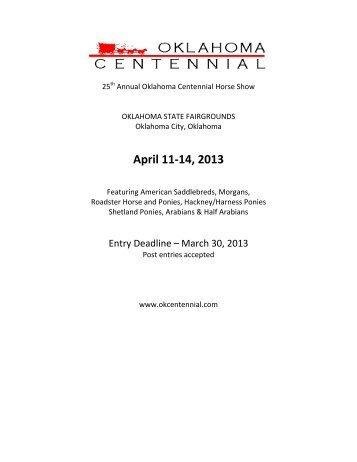 2013 Prize List - Oklahoma Centennial Horse Show