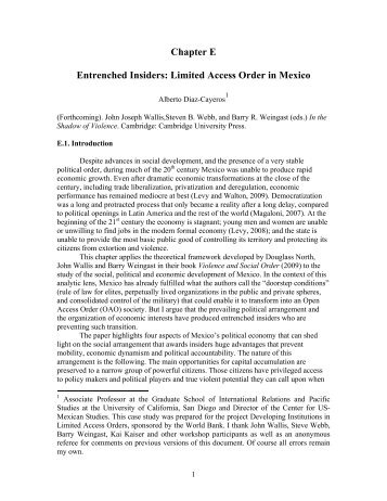 Entrenched Insiders: Limited Access Order in Mexico. - School of ...
