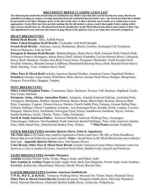 Breyerfest Breed Classification List Breyer Horses