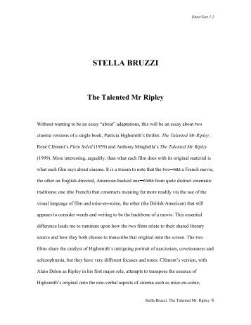 Stella Bruzzi: The Talented Mr. Ripley - Arts @ Brunel