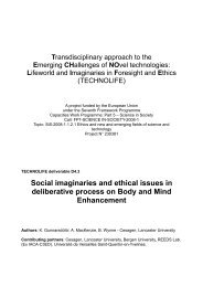 Deliverable 4.3 - Social imaginaries and ethical issues in - Cesagen