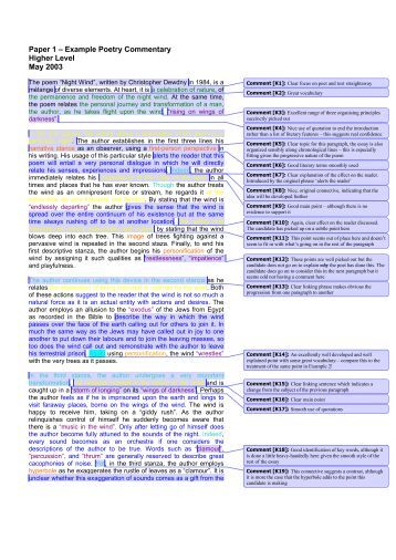 Paper 1 – Example Poetry Commentary Higher Level May 2003