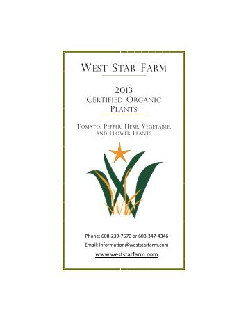 2013 WSF Plant Catalog - West Star Farm