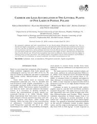 cadmium and lead accumulation in two littoral plants of five lakes in ...