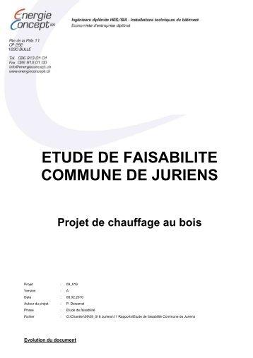 ETUDE DE FAISABILITE COMMUNE DE JURIENS Projet de ...
