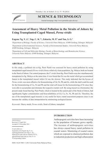 science & technology - Pertanika Journal - Universiti Putra Malaysia