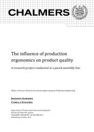 The influence of production ergonomics on product quality