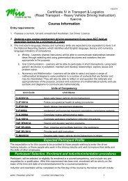 Certificate IV in Transport & Logistics (Road Transport – Heavy ...