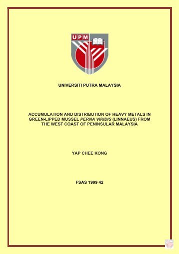 universiti putra malaysia accumulation and distribution of heavy ...
