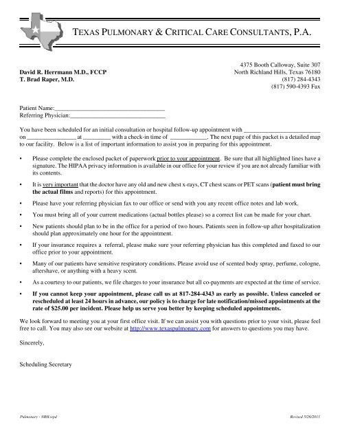 New Patient Paperwork - Texas Pulmonary & Critical Care