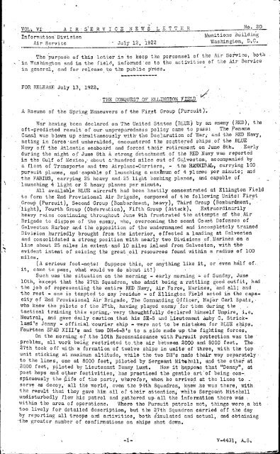News Letter 1922 Jul-Dec - Air Force Historical Studies Office