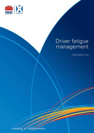Driver fatigue management plan verification tool - WorkCover NSW
