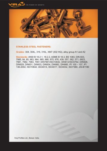 STAINLESS STEEL FASTENERS: Grades: Standards: 304 ... - Viraj
