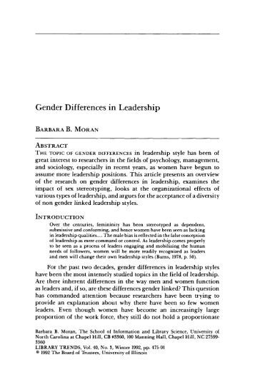 gender differences in leadership Chapter 2: what makes a good leader, and does gender matter  men and women make equally good political leaders, many do see gender differences in style and substance.