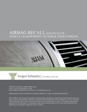 Airbag Recall Resources for Vehicle Crashworthy - Anapol Schwartz