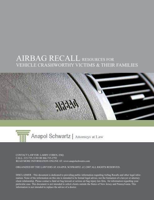 Airbag Recall Resources for Vehicle Crashworthy - Anapol Schwartz