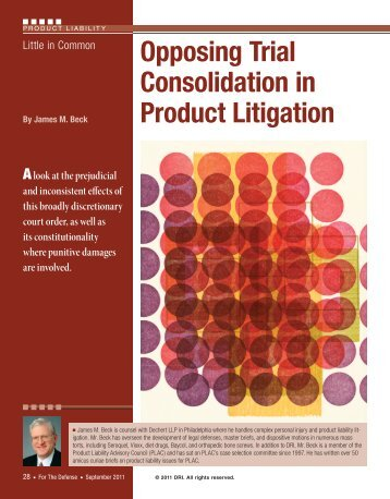 Little in Common: Opposing Trial Consolidation in Product ... - Dechert