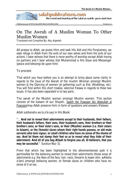 On The Awrah of A Muslim Woman To Other Muslim Women