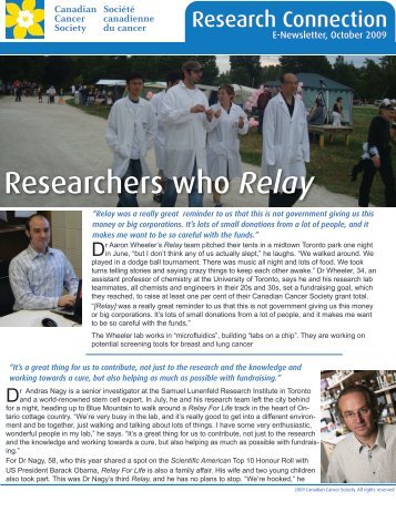 Researchers who Relay - Canadian Cancer Society