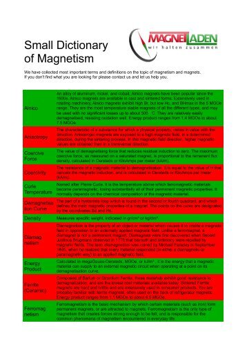 Small Dictionary of Magnetism - Magnetladen