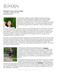 Weight Loss Jump Start - The Borden Method