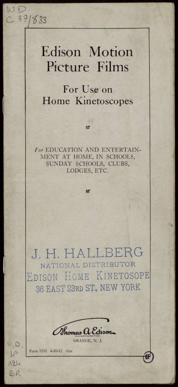 "Edison Motion Picture Films J. H. H ALLE ERG ""g)"