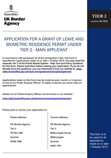 Tier 2 Application Form - UK Border Agency - the Home Office