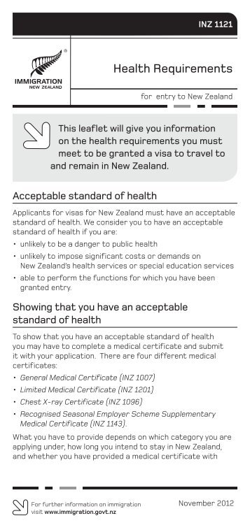 Health Requirements (INZ 1121) PDF - Immigration New Zealand