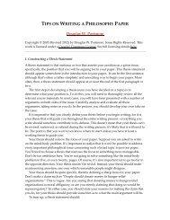 Tips on Writing a Philosophy Paper - Arizona State University