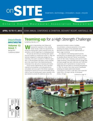 Volume 13, Issue 1 - Ontario Onsite Wastewater Association