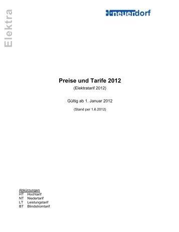 Preise und Tarife 2012 - Neuendorf