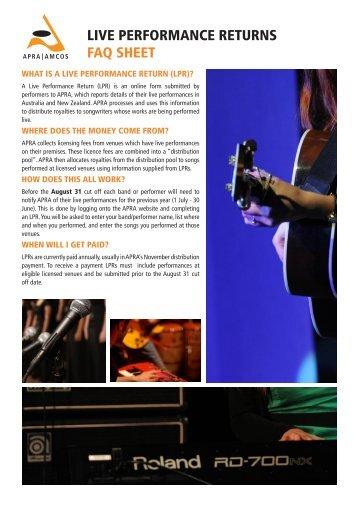 Live performance returns faq sheet - apra amcos