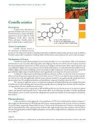Centella Asiatica - Alternative Medicine Review Monograph