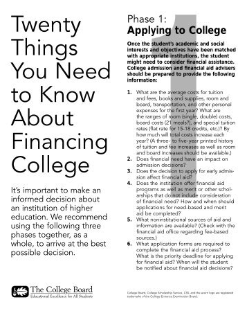 20 Things You Need to Know About Financing - College Board