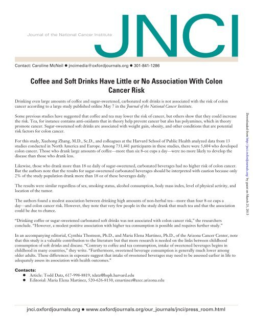 Coffee And Soft Drinks Have Little Or No Association With Colon