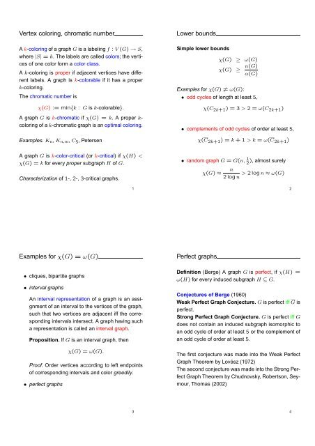 Vertex coloring, chromatic number Lower bounds Examples for χ(G ...